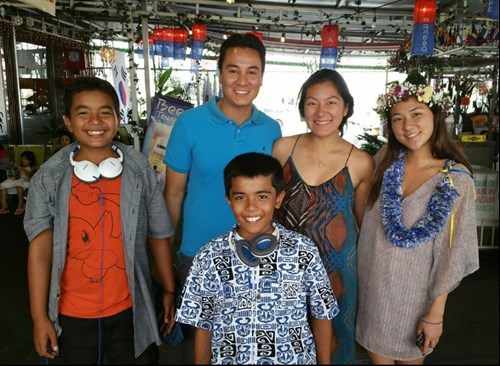 From left, Cheir's sons Colby and Cameron, son-in-law Mike, and daughters Jenai and Risa.
