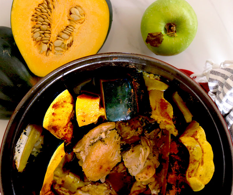 One-Pot Roasted Chicken with Acorn Squash