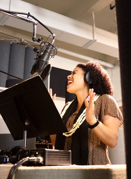 Ahia belts out the chorus to 'This Is Me' during the recording session held in a downtown Honolulu studio.