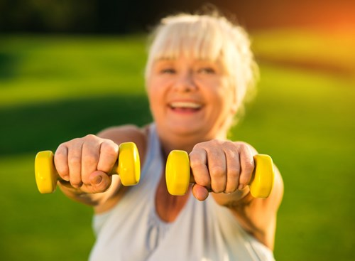 Beginning at age 40, most people – especially women – experience increased bone loss. One way to delay the onset of osteoporosis is with resistance exercises and weight-training.