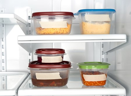 Store leftovers in shallow containers and refrigerate immediately. Label containers with the name of the food and date it was first prepared to avoid letting leftovers linger for too long.