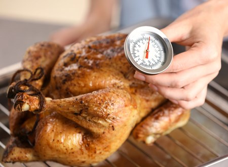 Your chicken might look ready to eat, but it still could be undercooked. Use a meat thermometer to check that the internal temperature is at least 165 degrees before serving.