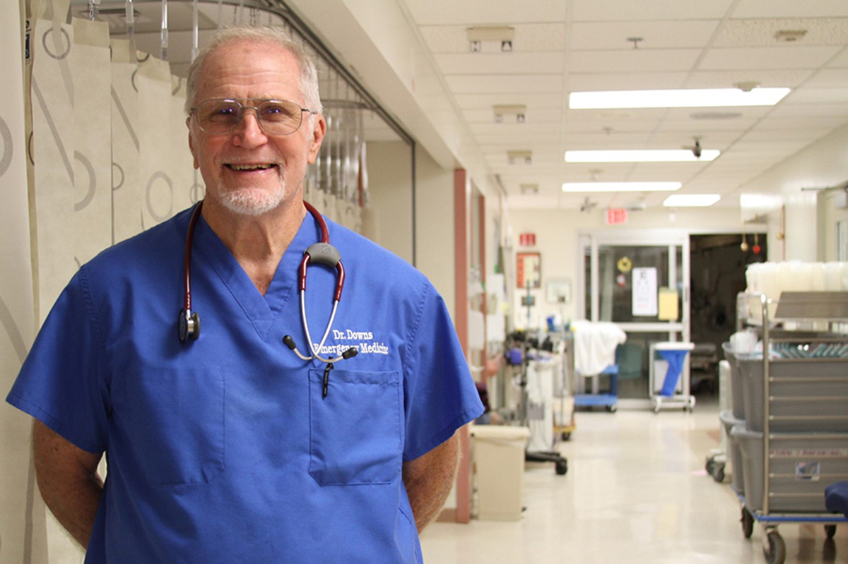 Dr. Monty Downs stands in the Wilcox Emergency Department
