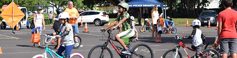 Kids on bikes at last year's keiki bike & skateboard day