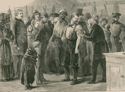 This illustration depicts a physician vaccinating the poor of New York City against smallpox in 1872. In 1863, mass production of the smallpox vaccine was developed, allowing for broad immunization of North American and European populations.