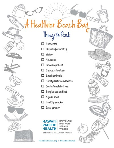 Download this list of beach-bag essentials to prepare for your day of fun in the sun!