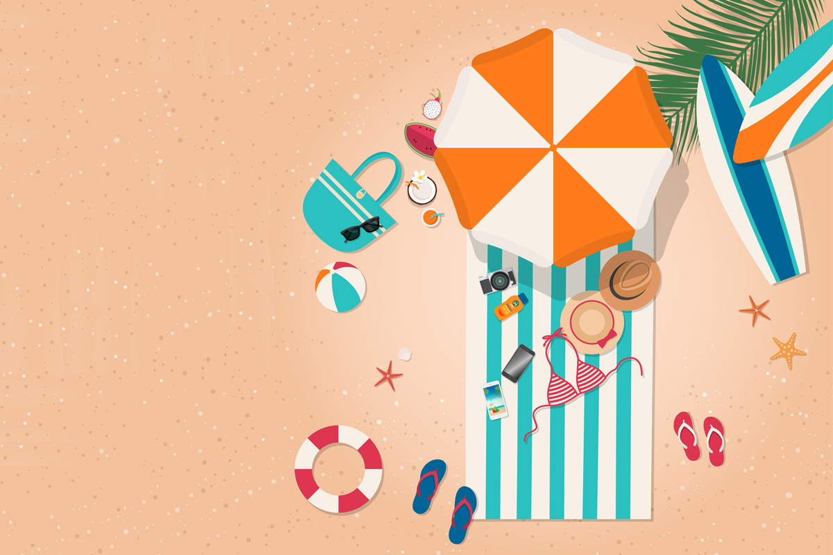 flatlay illustration of a beach bag laying out on a towel with sunglasses, sunscreen, hat, healthy fruits, cell phones, safety flotation device, sandals and swim suits underneath a large beach umbrella