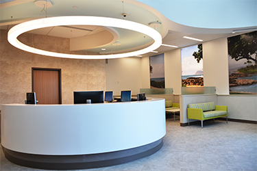 Interior of New Clinic with reception and waiting area