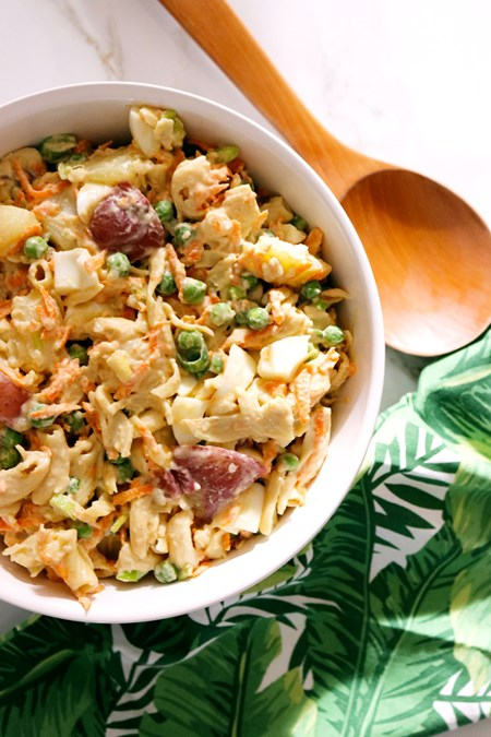 This version of the beloved potato-mac salad is nearly identical to the original. The main difference? It's a lot better for your health – and waistline.
