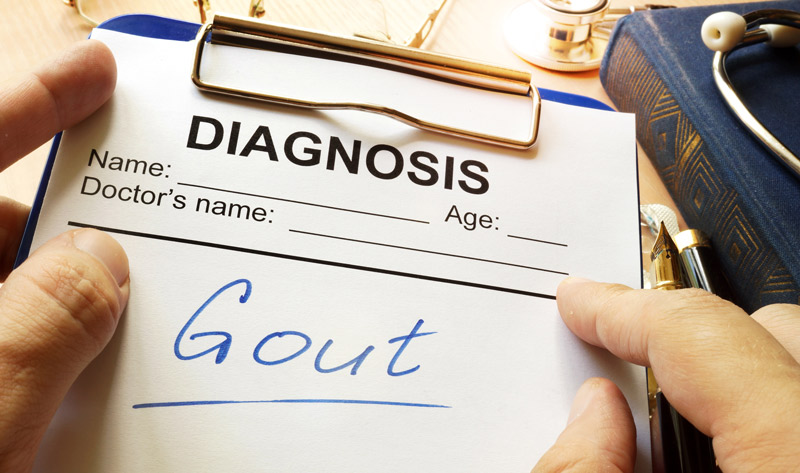 gout written on a medical form