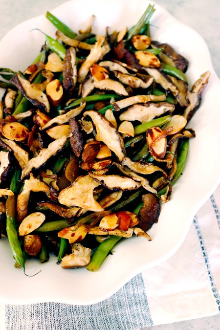A bright and tangy dressing adds extra tasting notes without drowning out the slightly more delicate flavor profiles of the green beans and mushrooms.