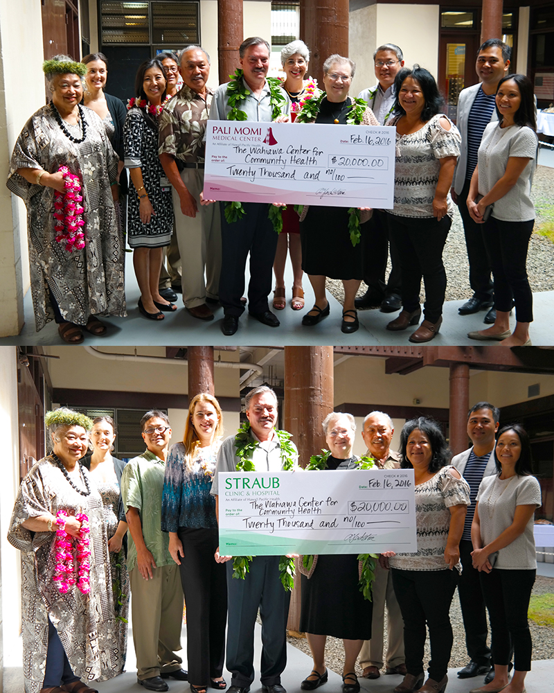 Group photo from Wahiawa center for community health showing a large check