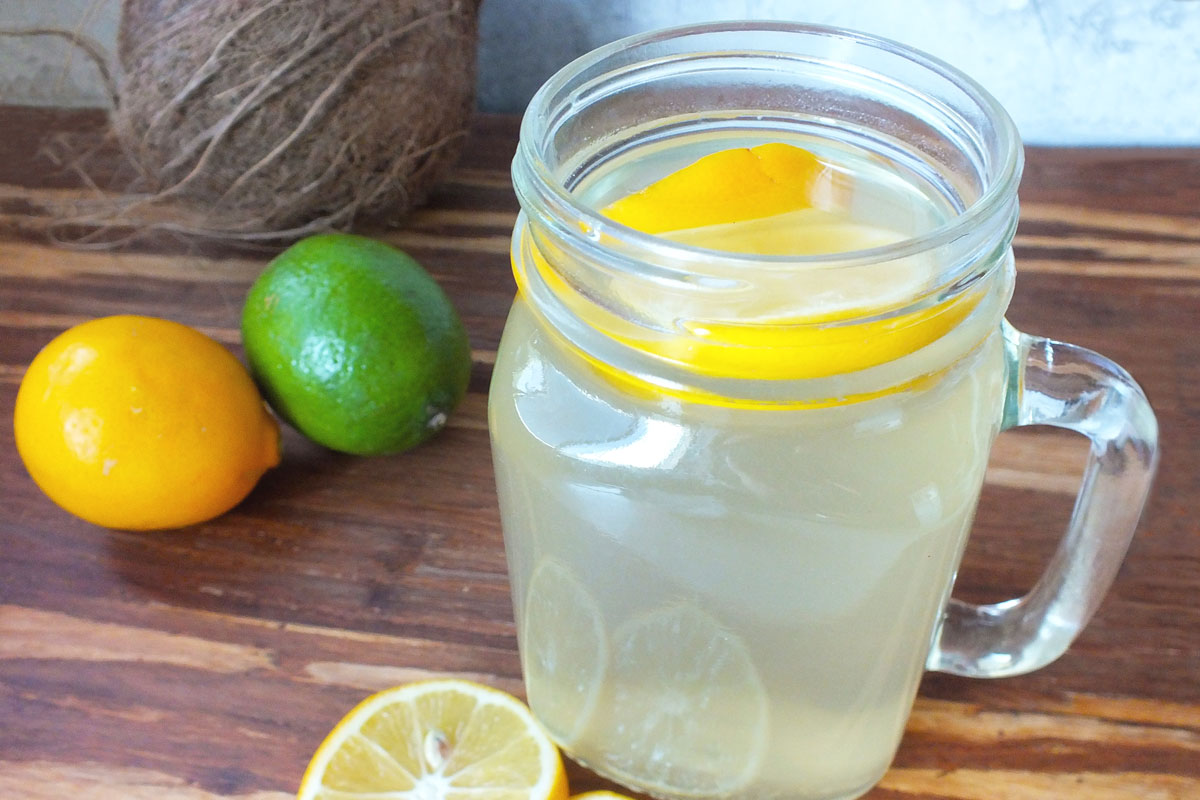Water jug with slice of lemon