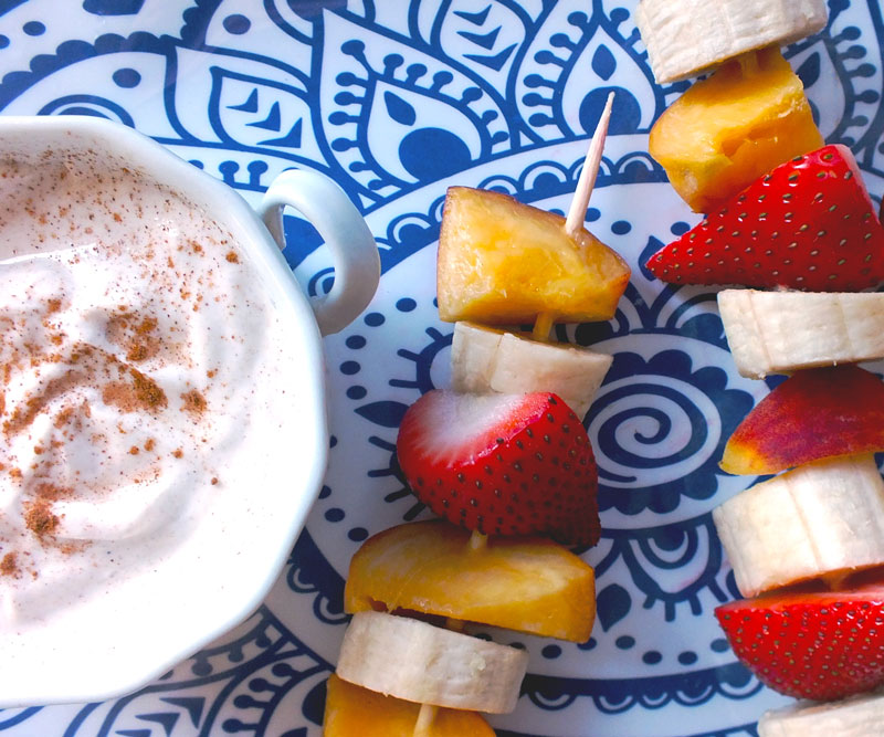 Fresh Fruit Kebabs with Maple Cinnamon Yogurt Dip