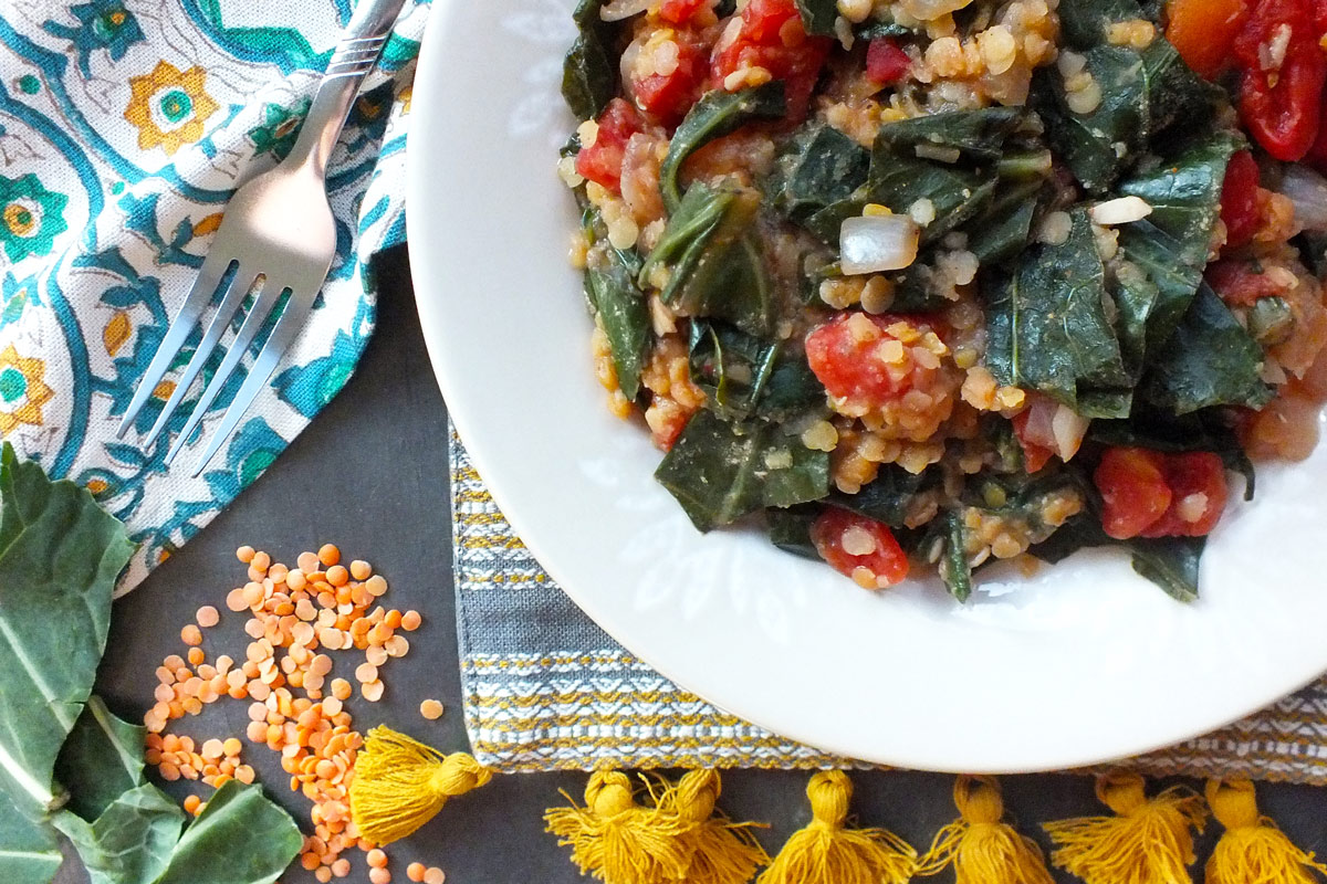 Collard Greens with Lentils, Tomatoes & Spices