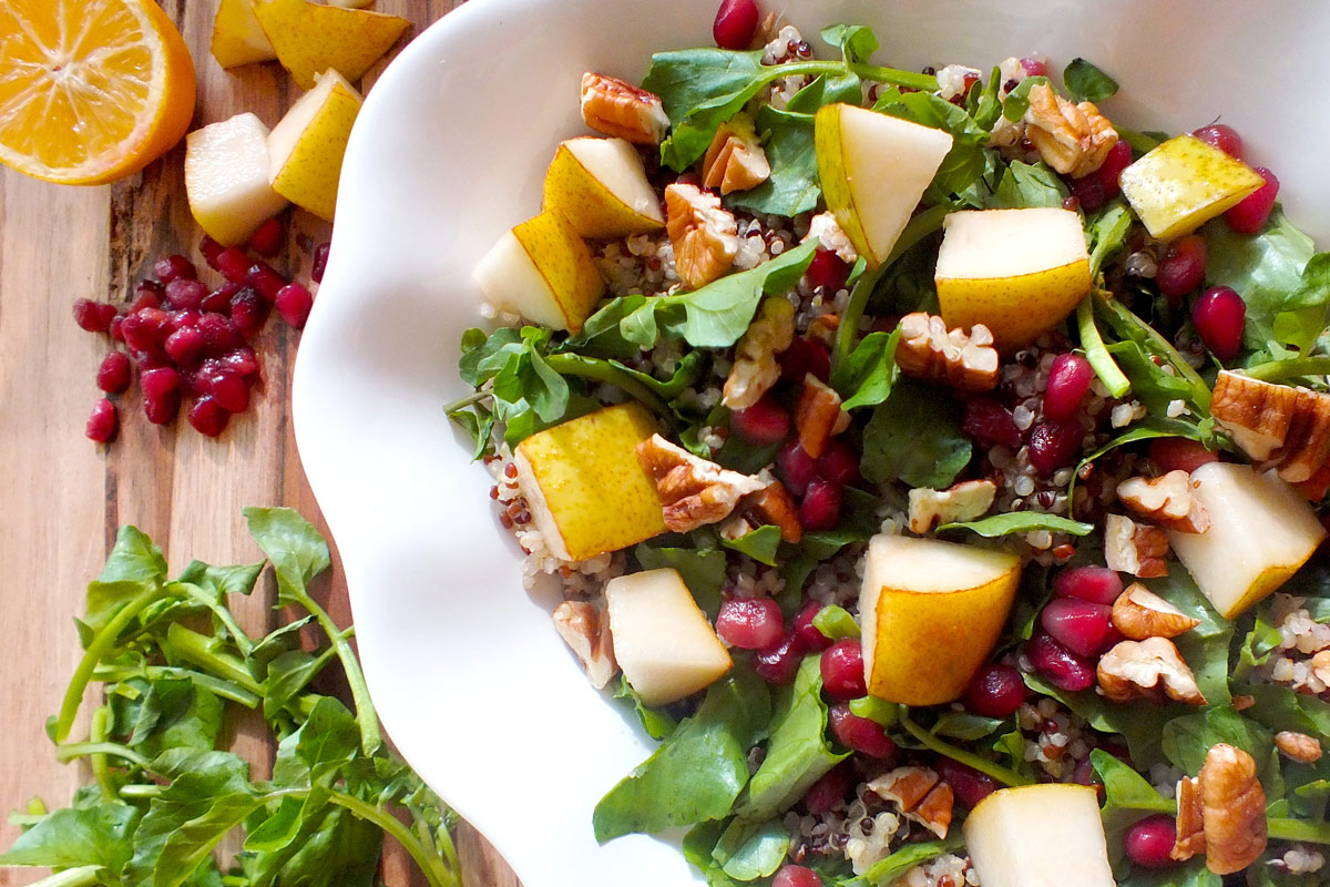 Quinoa with Watercress, Pomegranates & Pears