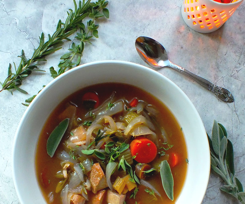 Turkey Soup with Turmeric, Ginger & Fresh Herbs in bowl