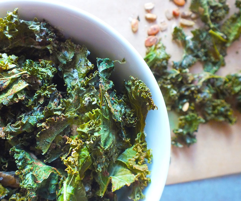 Crunchy Kale Chips with Chinese Five Spice and Seeds