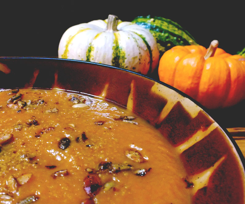 Cinderella Pumpkin Soup in bowl
