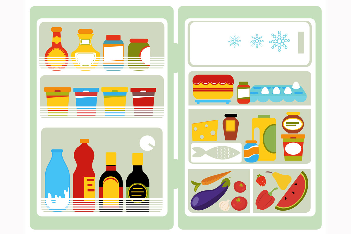an illustration of food inside a refrigerator
