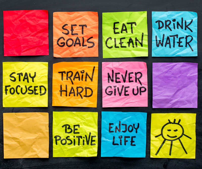 post-it notes with various health reminders