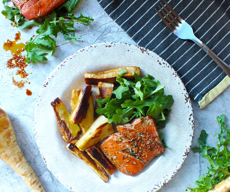 Ginger-Glazed Salmon & Roasted Parsnip Chips