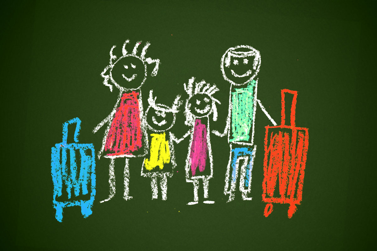 hand drawn family with suitcases done with crayons