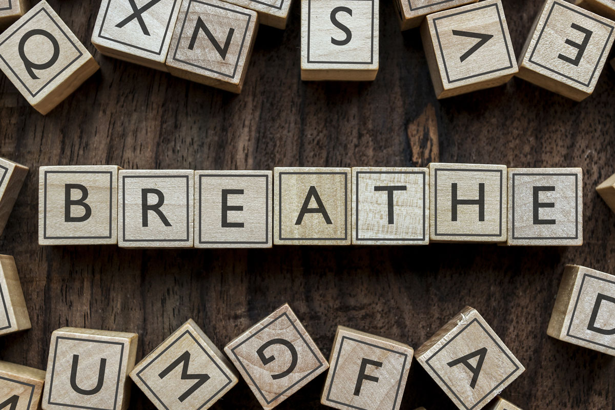 the word: breathe spelled out in letters