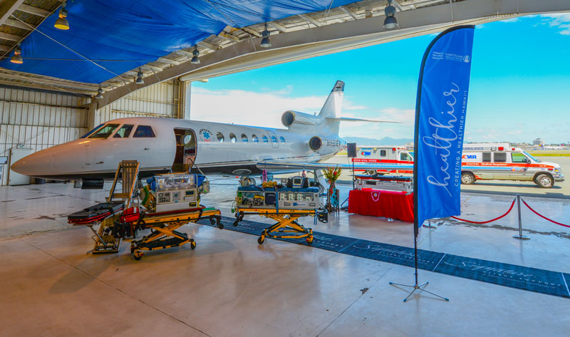 Kapiolani Transport Team Joins Emergency Airlift to Celebrate New Falcon 50 Air Ambulance