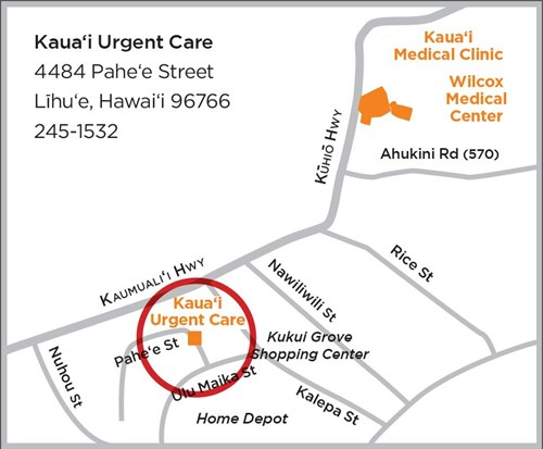 Map to Kauai Urgent Care