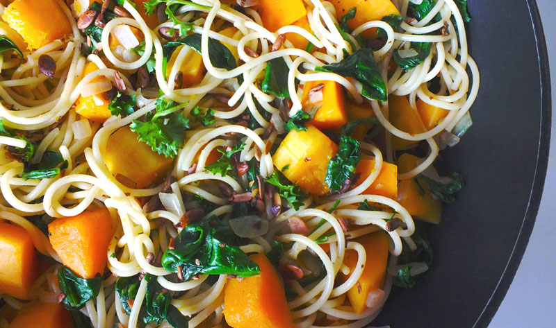 Eat Healthy: Simple Pasta with Butternut Squash & Spinach