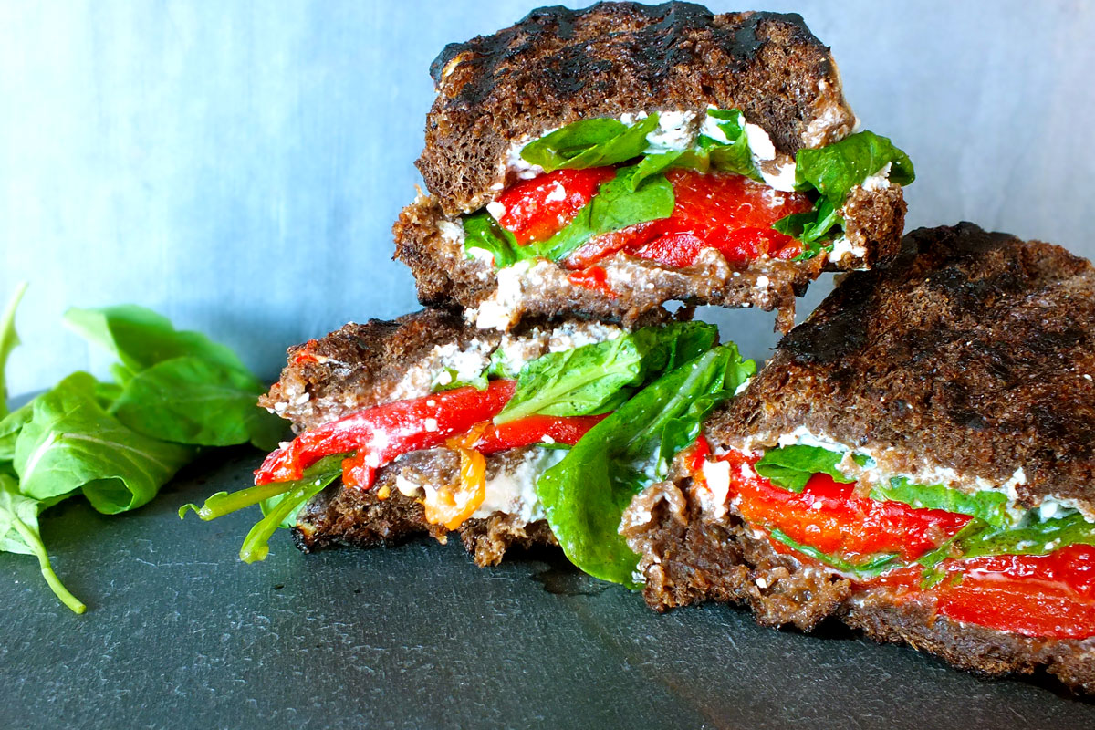 Red Pepper, Arugula & Goat Cheese Paninis