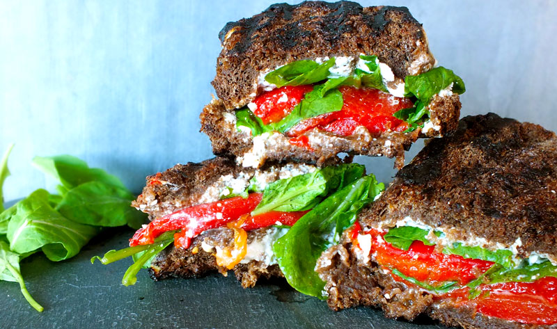 Eat Healthy: Red Pepper, Arugula & Goat Cheese Paninis