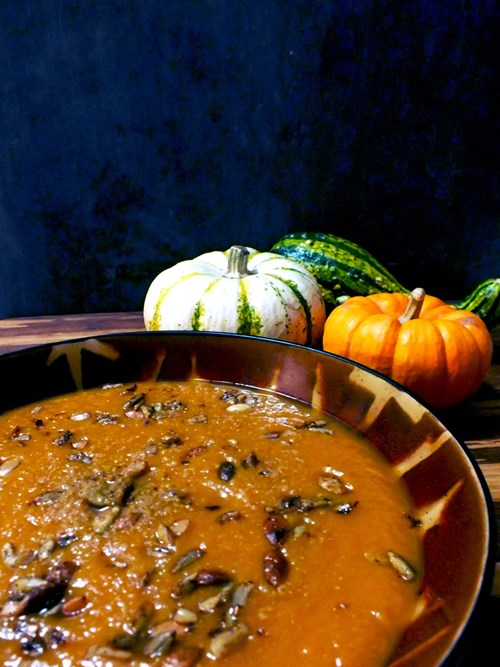 Roasted pumpkin seeds make a welcome addition to savory dishes, like this Cinderella Pumpkin Soup.