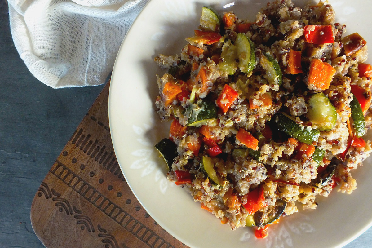 Tri-Color Quinoa with Roasted Vegetables