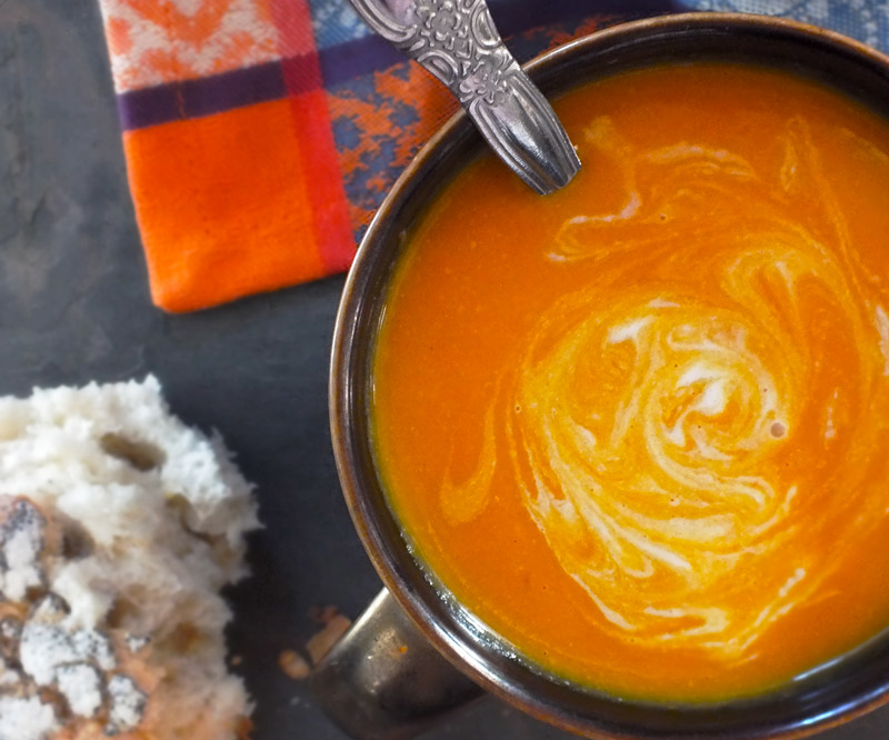 Coconut, Carrot & Chickpea Soup