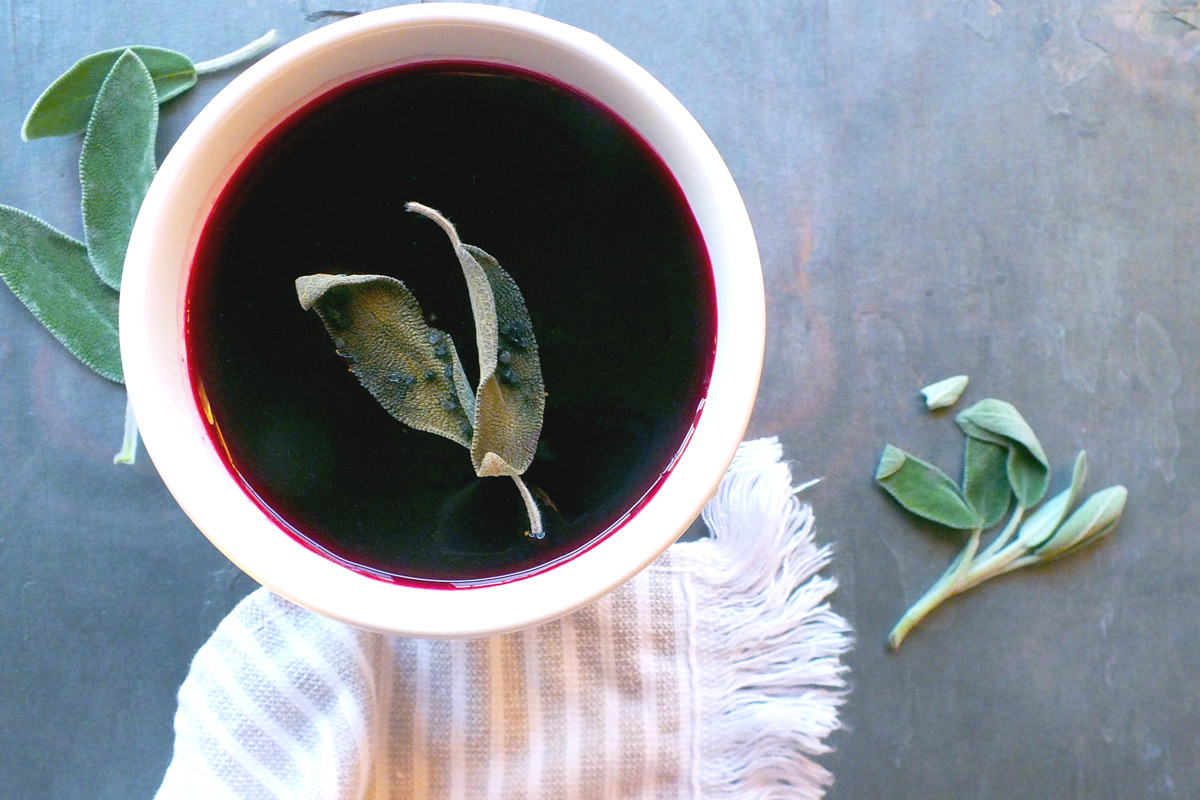 Beet & Fennel Soup with Crispy Sage