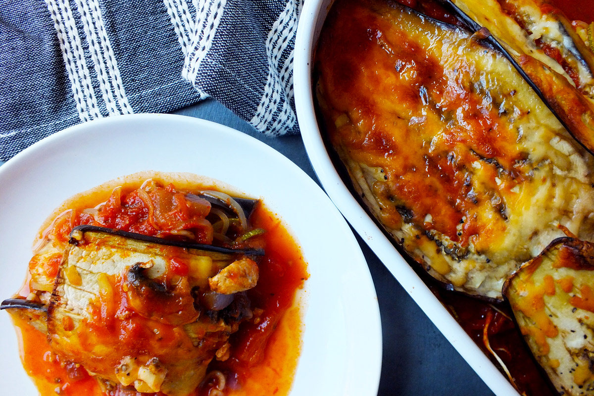 Baked Eggplant with Zucchini Spaghettini in bowl
