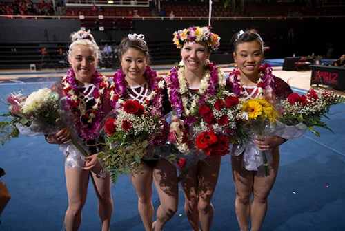 Frowein (second from right) was able to sustain a 20-year career in competitive gymnastics, thanks to the care received at Kapiolani Medical Center.
