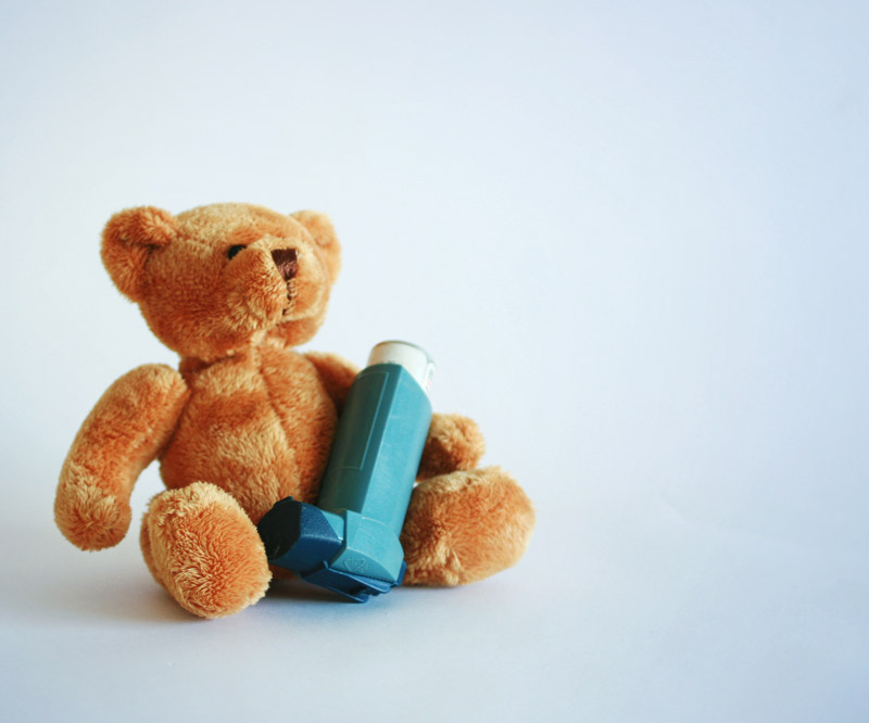 teddy bear with inhaler
