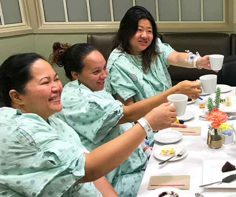 group of nurses having tea