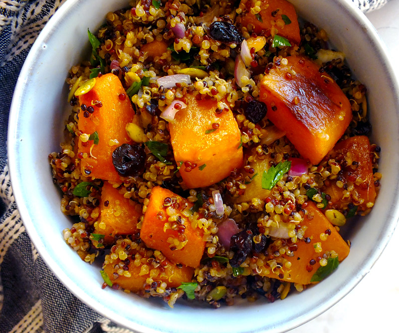 Butternut Squash & Cranberry Quinoa Salad in bowl