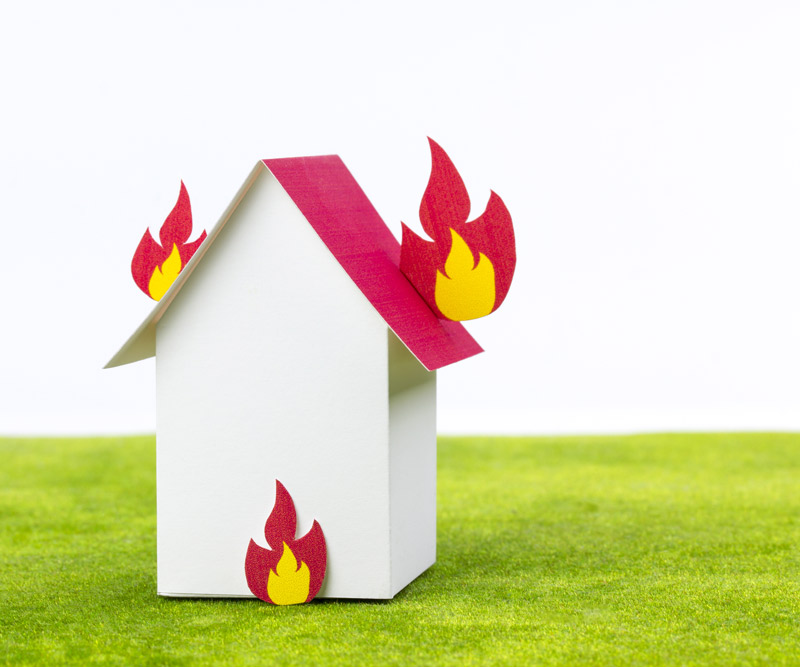 Illustrated house on fire