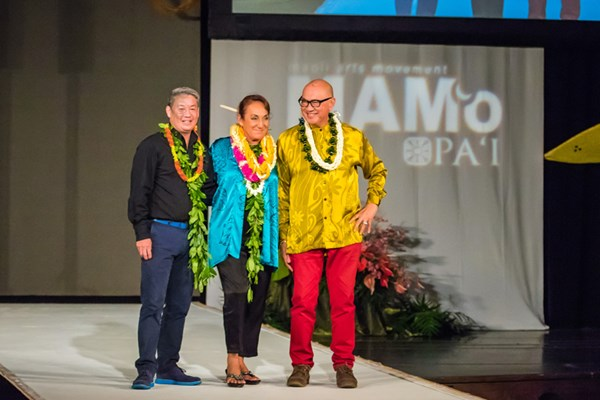 Six weeks after having a double mastectomy, Vicky was back at work emceeing the annual MAMo fashion show. She is seen here with co-host Robert Cazimero (right) and hula master Michael Pili Pang.
