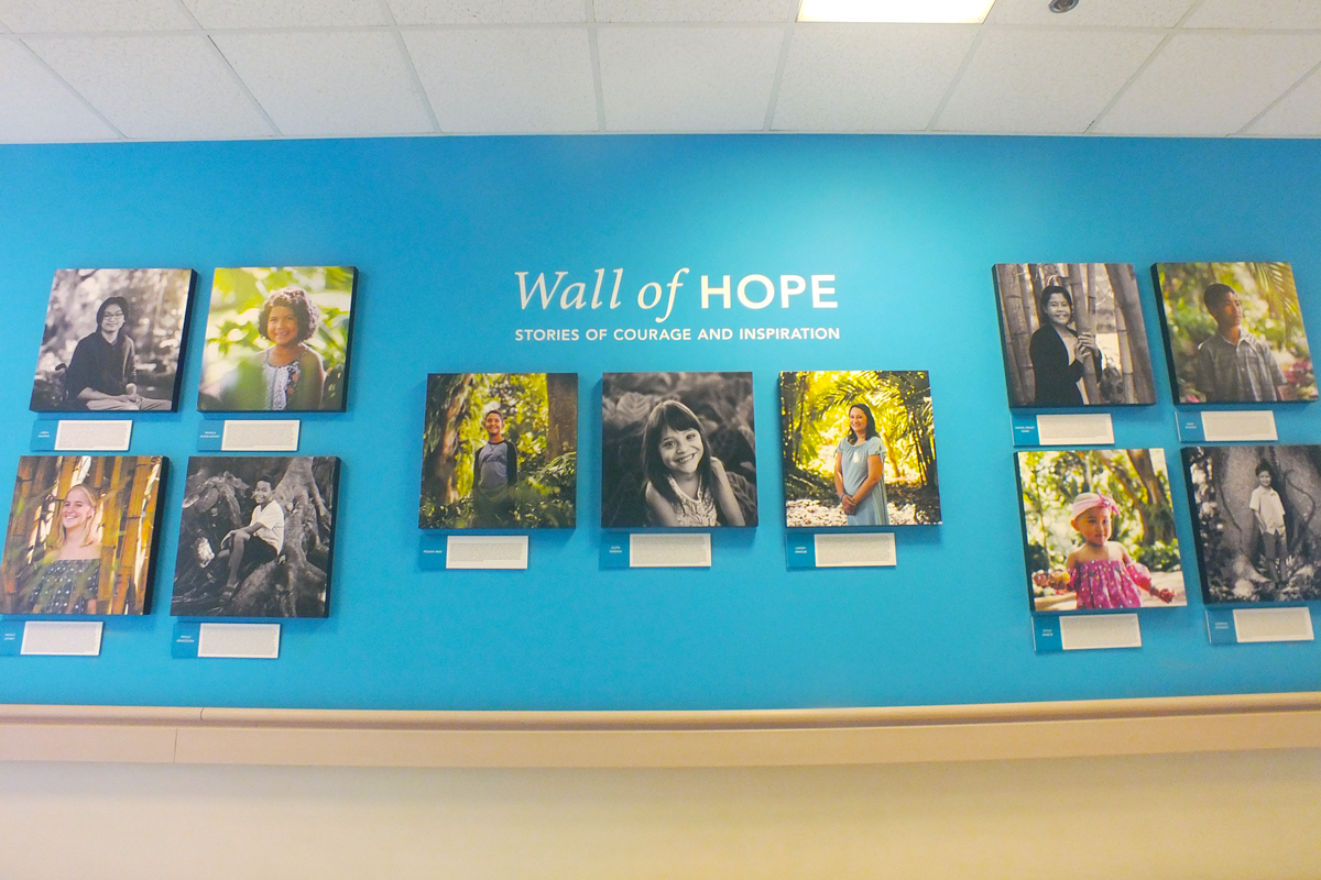 Wall of Hope written wall of patient photos