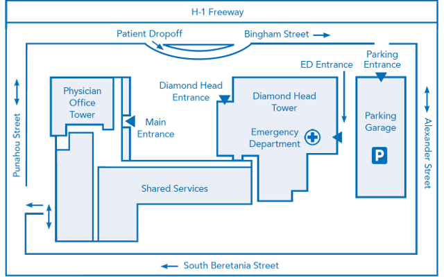 Map of Kapiolani Emergency Department