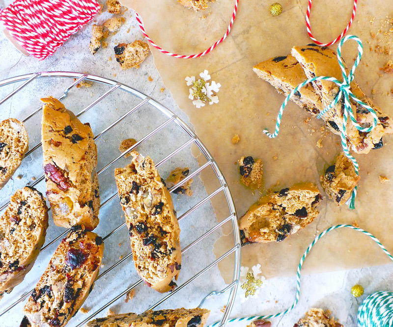 Fruitcake biscotti on a table decorated for the holidays