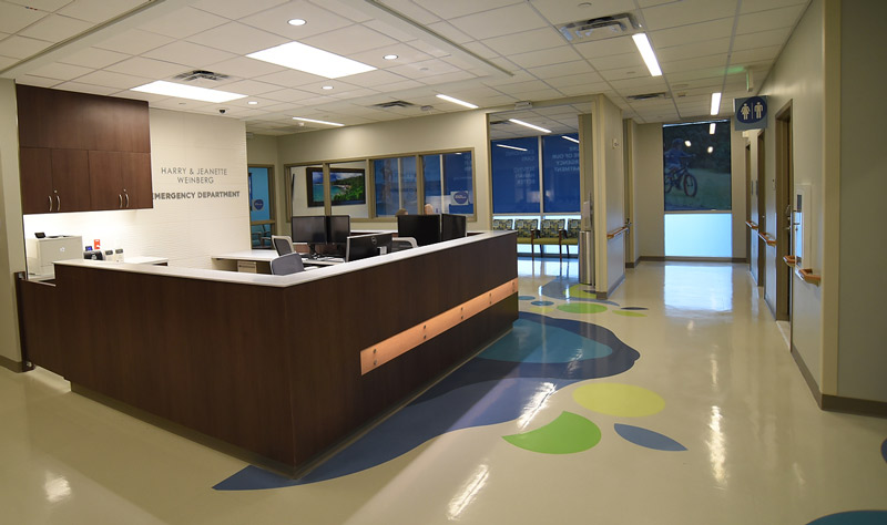 the admission desk and waiting rooms of the newly expanded Kapiolani Emergency Department