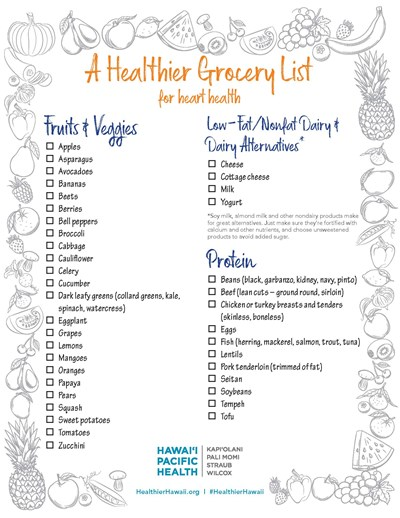 Download this list and use as a guide for your next trip to the grocery store. Don't feel like you have to check off every item – pick and choose the foods that fit your preferences, and feel free to experiment with new, healthy choices!