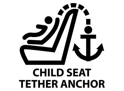 The next time you're in your vehicle, look for this symbol – it indicates where the tether anchors are located.